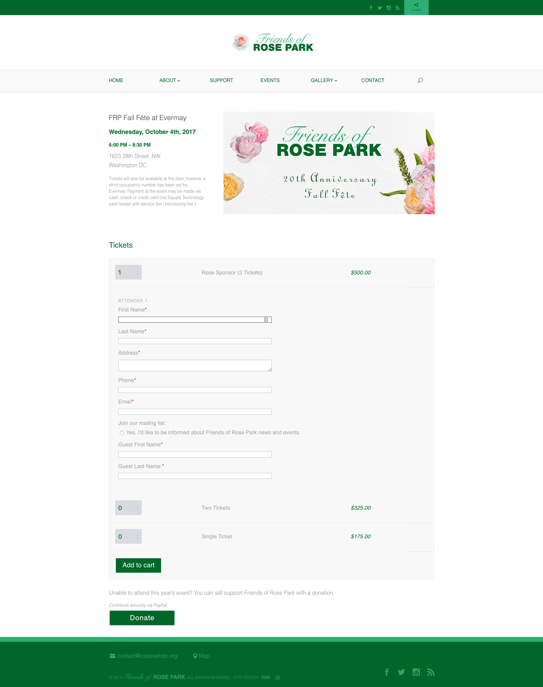 Friends of Rose Park • Event Registration & Ticketing Integration